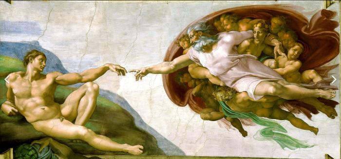 Микеланджело, «Сотворение Адама», фрагмент потолка Сикстинской капеллы