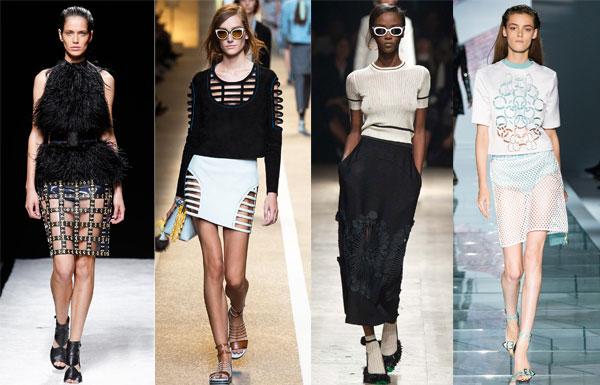 Модные юбки с перфорацией весна-лето 2015