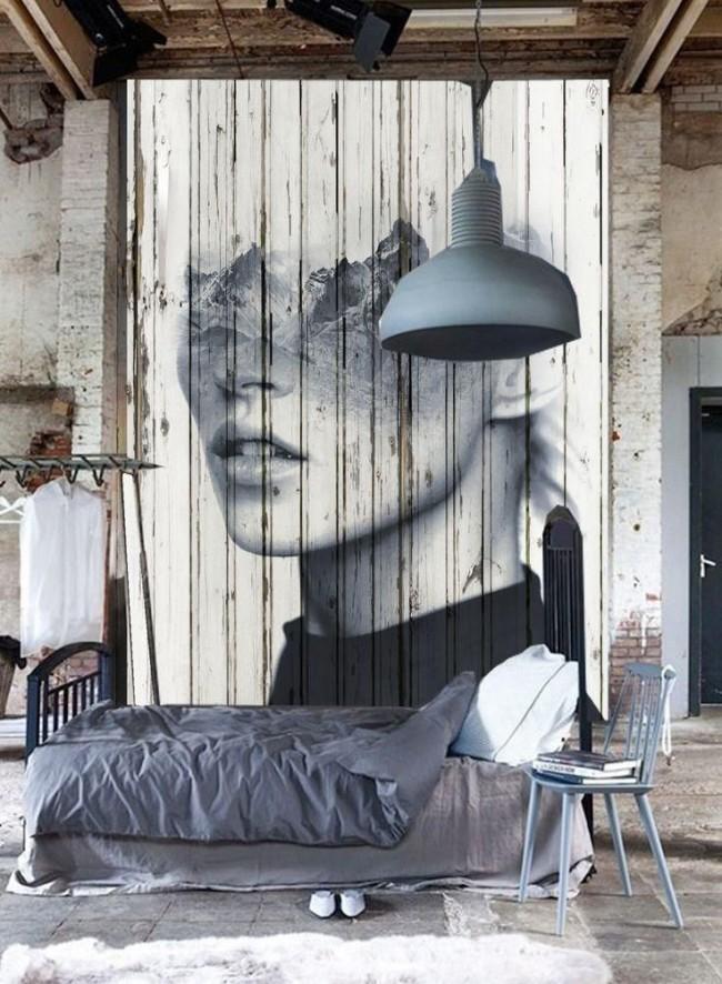 Стильная фреска на деревянной стене
