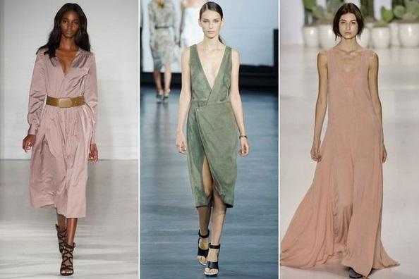Пыльные оттенки - тенденции весна 2015, на фото модели Mara Hoffman, Jason Wu и Jill Stuart