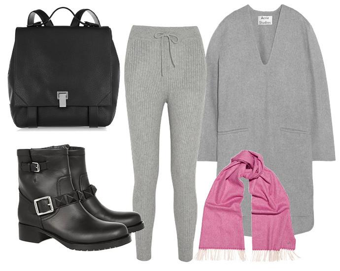 Выбор ELLE: платье-свитер Acne Studios, ботинки Valentino, рюкзак Proenza Schouler, шарф Gucci