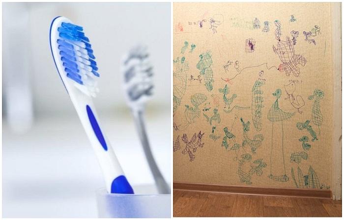 Следы от карандаша можно убрать щеткой и зубной пастой