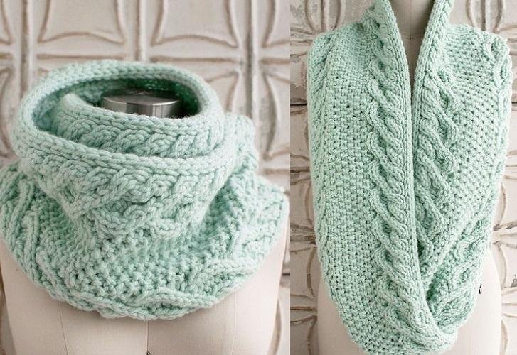 Ментоловый необычный круговой шарф
