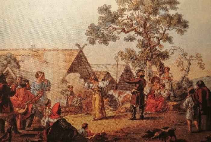 И. Кокере. Русская пляска. Гравюра с рисунка Е. М. Корнеева, 1812