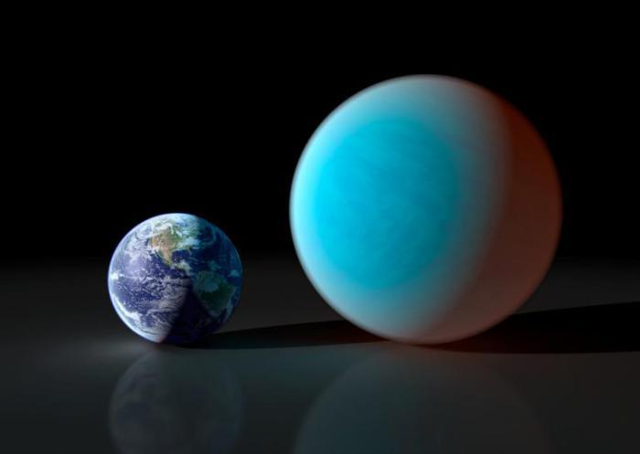 Планета Земля и экзопланета 55 Рака Е.