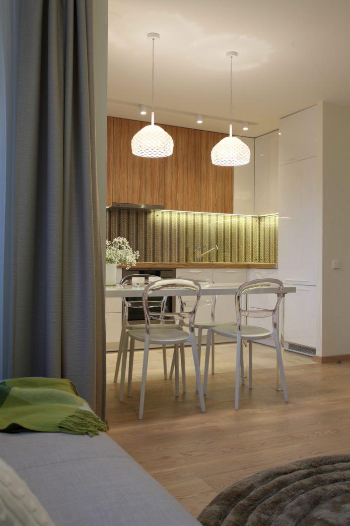 кухня в интерьере квартиры 35 кв. м.