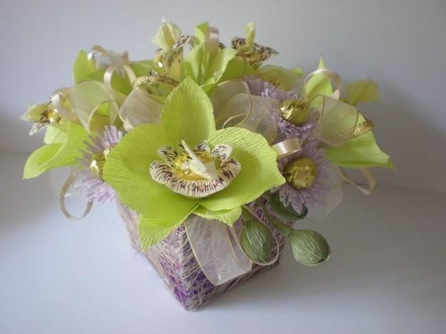 Орхидеи из конфет