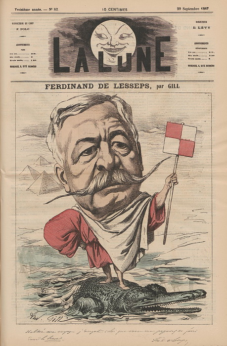 Карикатура на Лессепса 1867 года. 25 лет спустя француз станет фигурантом «панамского скандала»