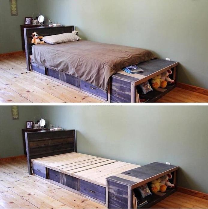 Деревянные поддоны можно удачно использовать для создания простого, но оригинальное каркаса кровати.
