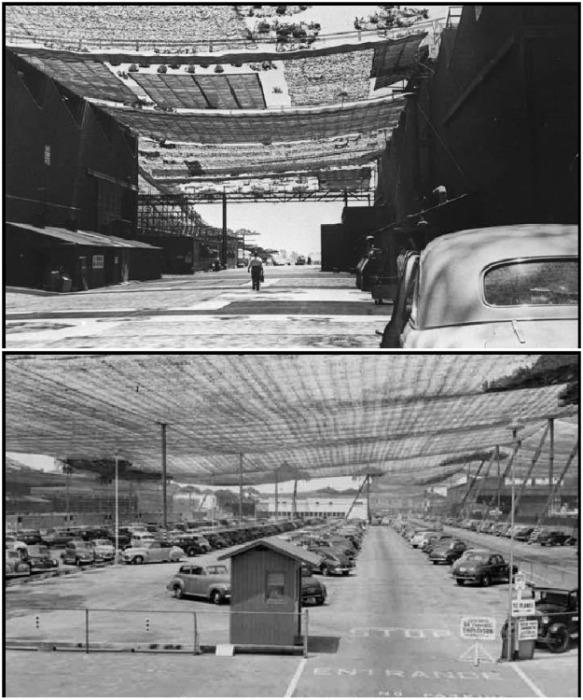 Огромные маскировочные сети надежно защищали все открытые зоны предприятий, создавая картинку фермерских угодий. | Фото: lockheedmartin.com.
