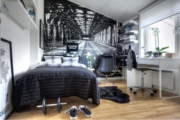 Маленькая спальня с обоями 3d