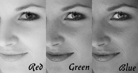 Рис. 14 – отображение фотографии в трёх разных каналах цветности