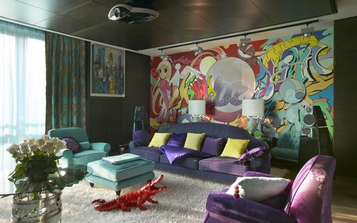 <p>Автор проекта: архитектурное бюро B|S. Фотограф: Дмитрий Лившиц.</p> <p>Интерьеры в стиле поп-арт с кричащими цветами и веселыми арт-объектами с удовольствием примут в свою компанию яркие фиолетовые вещицы. Как в этой гостиной с бирюзовым креслом, красным крокодилом и желтыми подушками, фиолетовые аксессуары здесь только добавляют цветовой градус.</p>