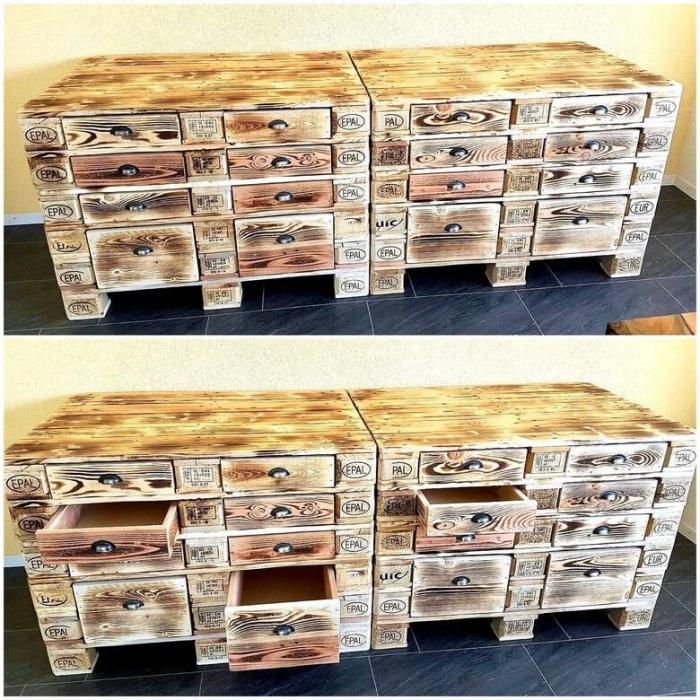Из нескольких деревянных поддонов можно соорудить весьма практичный комод с выдвижными ящичками для хранения одежды и нижнего белья.