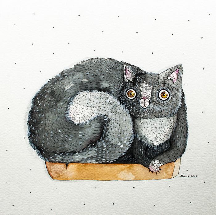 Серия рисунков коты