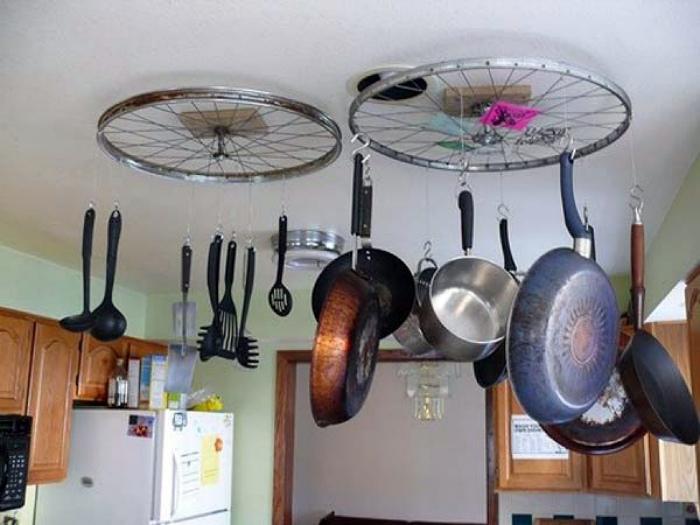 Подвесной держатель для кастрюль и сковородок.