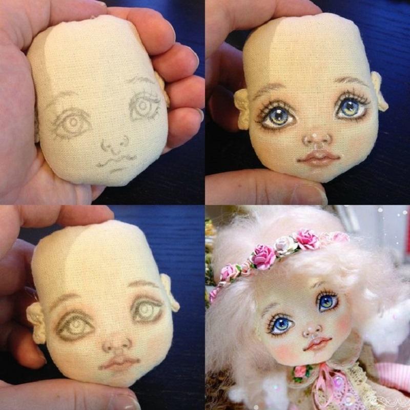 Нарисовать лицо кукле из ткани пошагово