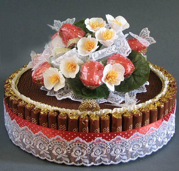 Торт из чая и конфет своими руками