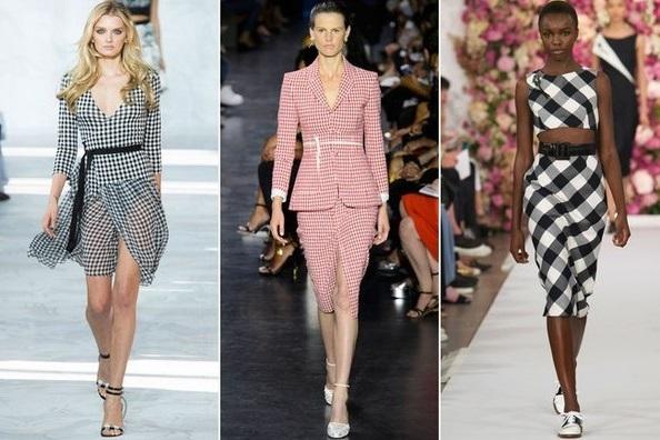 Клетчатый лен - тентенденции весна 2015, на фото модели Oscar de la Renta, Altuzarra  и Diane von Furstenberg