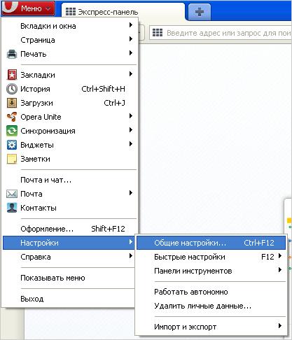 Настройки в Opera версии от 10,5 до 14