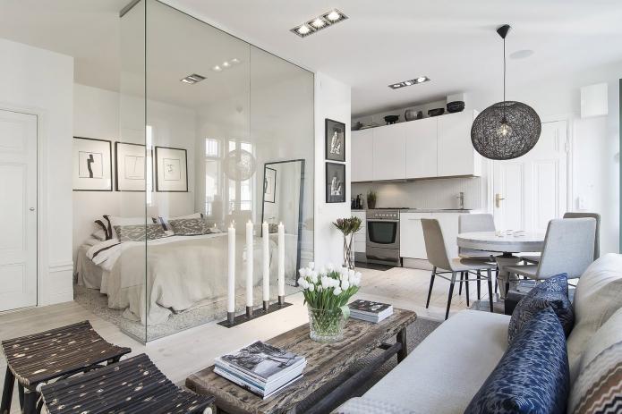скандинавский дизайн квартиры-студии