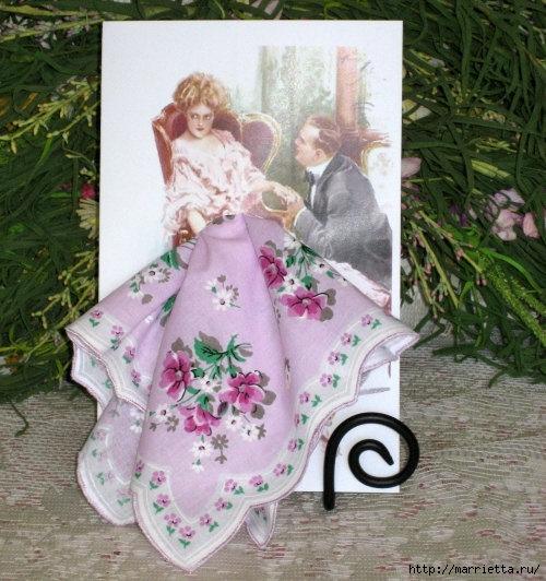 Винтажные открытки с дамами в юбках из носовых платков шаблоны, дню