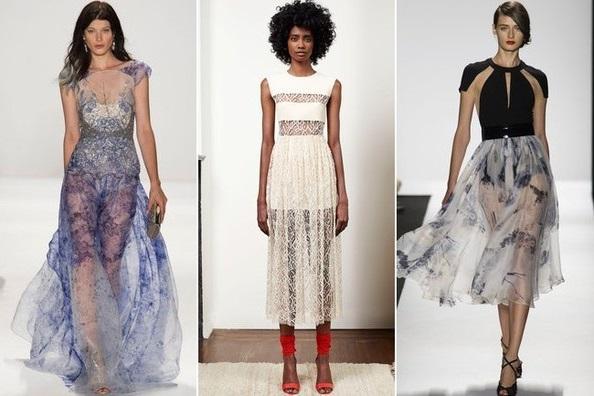 Прозрачная ткань - тенденции весна 2015, на фото модели Carmen Mark Valvo, Adam Lippes, Badgley Mischka