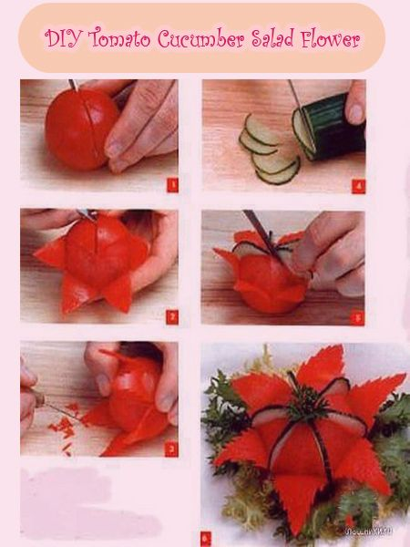 DIY Tomato Cucumber Flower for Salad
