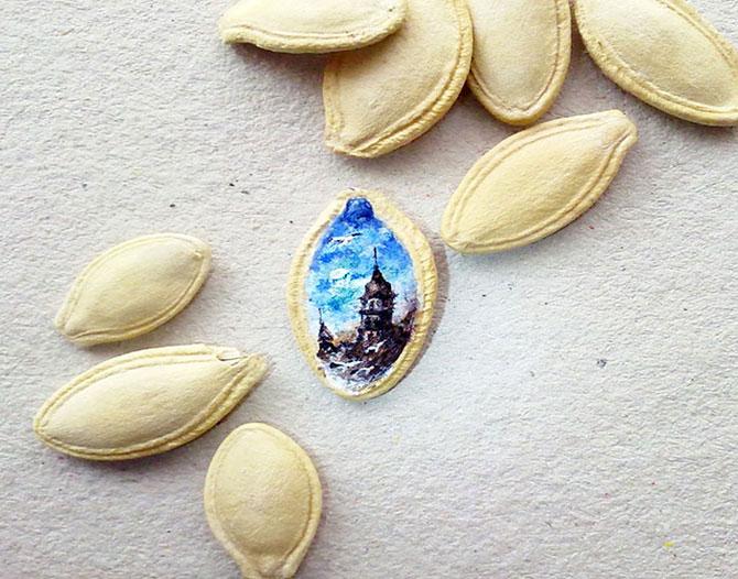 Миниатюрные рисунки, умещающиеся на тыквенных семечках