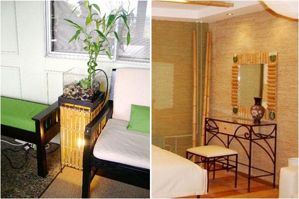 Абажур и рама для зеркала из бамбука