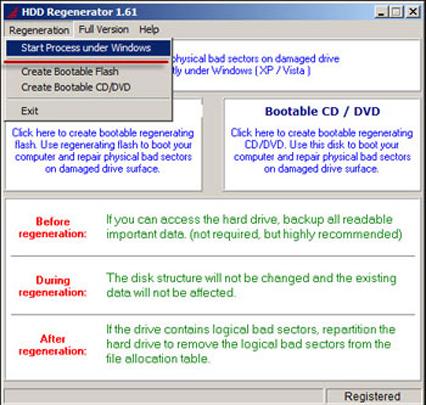 Окно программы HDD Regenerator
