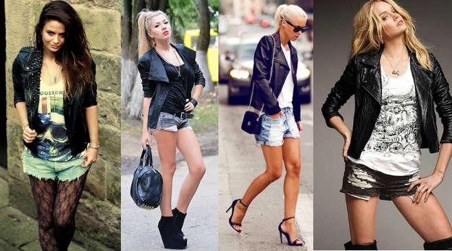 Сочетание кожаной куртки с шортами
