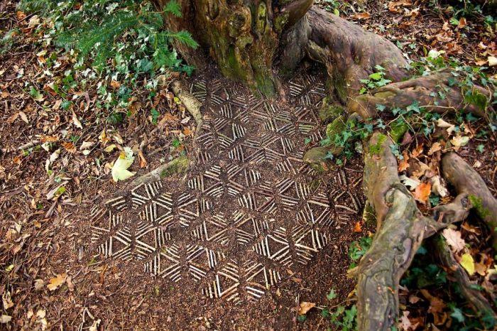 Симметричные геометрические узоры из веточек, выложенные у корней растущего дерева.