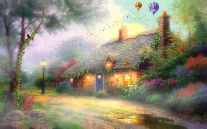 Дом, в котором царит любовь, гармония и тепло. Автор: Thomas Kinkade.