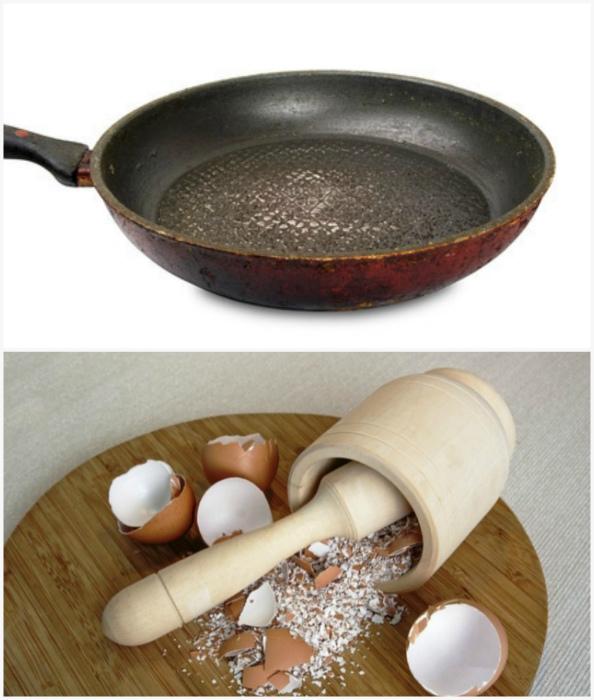 Чистящее средство из яичной скорлупы.