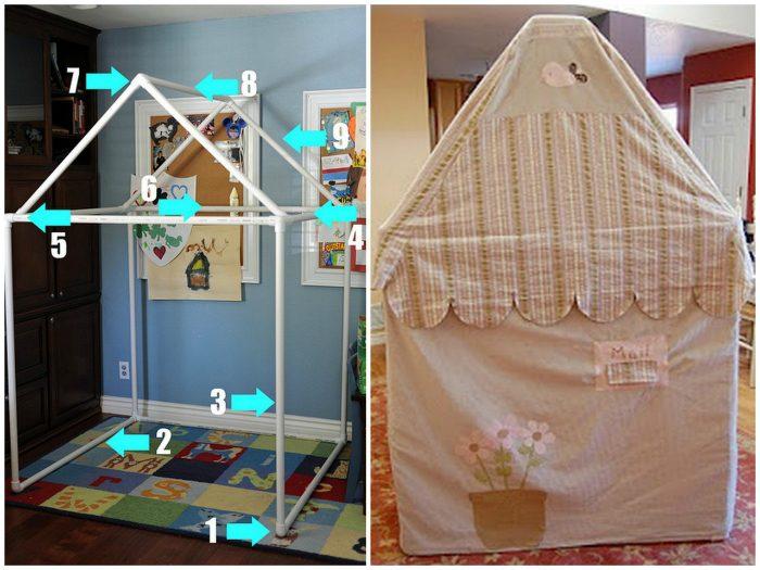 Любой ребенок обрадуется такому домику. Его можно разместить в доме и на улице. Выбор цвета ткани на ваш вкус.