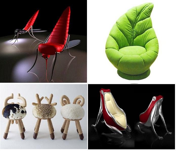 Кресла в виде насекомых, лягушек или листиков. Что можно придумать оригинальней.