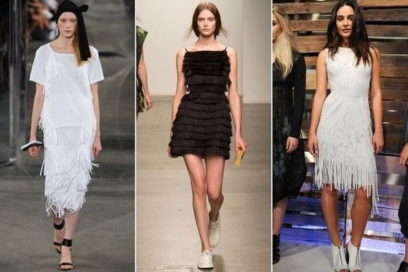 Бахрома - тенденции весна 2015 на фото модели Elie Tahari, Osklen и Milly