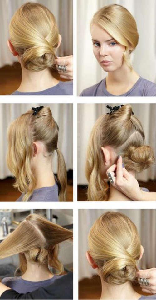 Пучок на средние волосы пошагово
