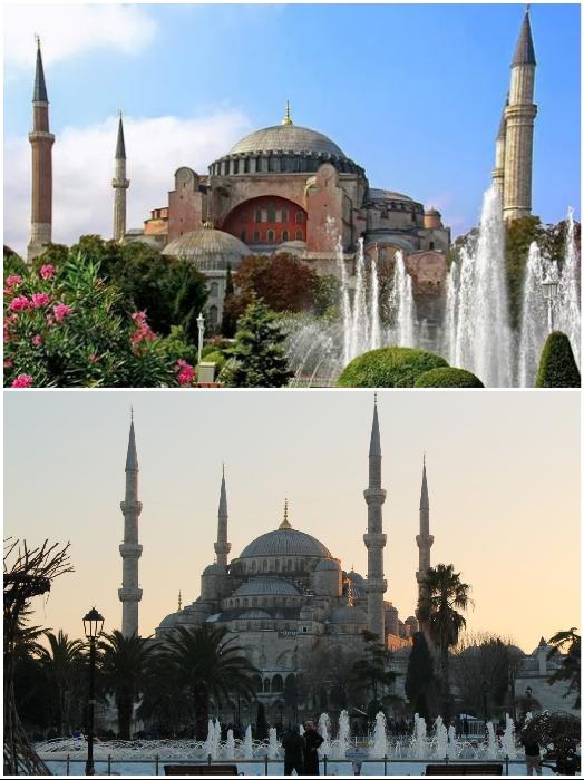 Минареты создавались на протяжении нескольких веков и разными султанами (Софийский собор, Стамбул). | Фото: ru.depositphotos.com/ golos.com.ua.