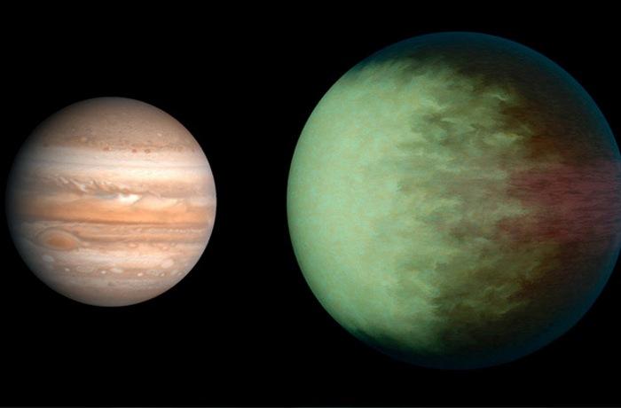 Кеплер 7Б в сравнении с Юпитером.