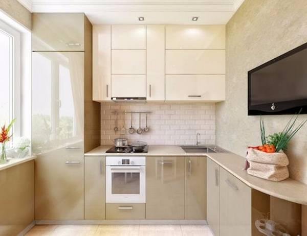 дизайн маленькой кухни в хрущевке с холодильником, фото 34
