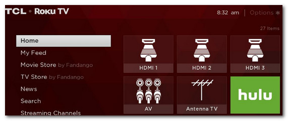 Выбор HDMI 1, 2, 3 (Меню ТВ)