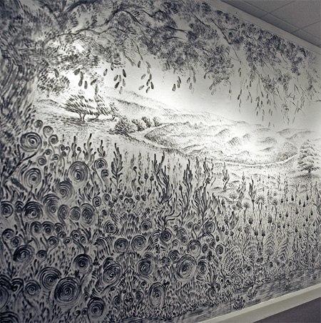 Декор стен. Рисование пальцами