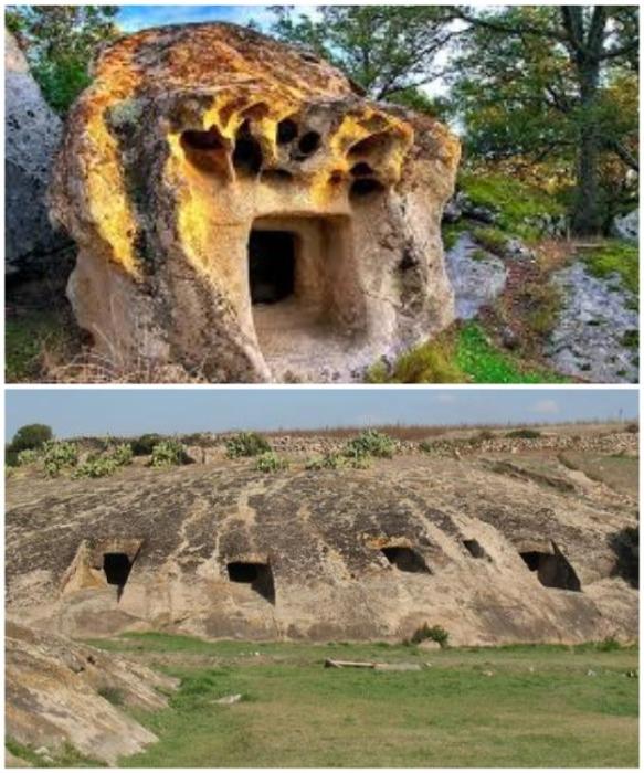 «Дома фей» в Сардинии не имеют одинаковых очертаний и много веком подряд считаются магическими сооружениями (Domus de Janas, Италия).   Фото: mir-i-mi.ucoz.ru.