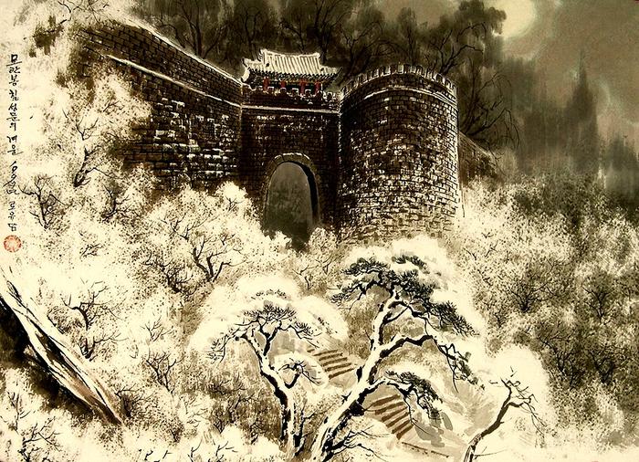 로유담_15.1_Холм Моранбон. Ворота Чхильсонмун (Ворота Большой медведицы)зимой. 1997 (700x506, 595Kb)