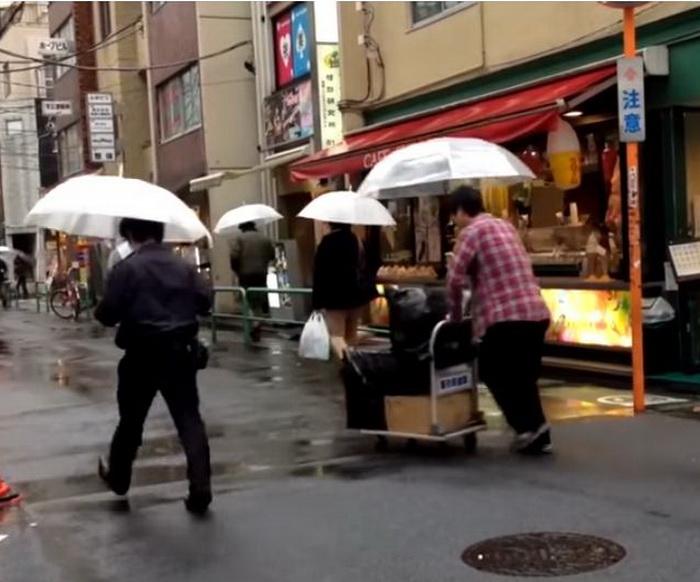 Прозрачные зонты очень популярны в Японии.