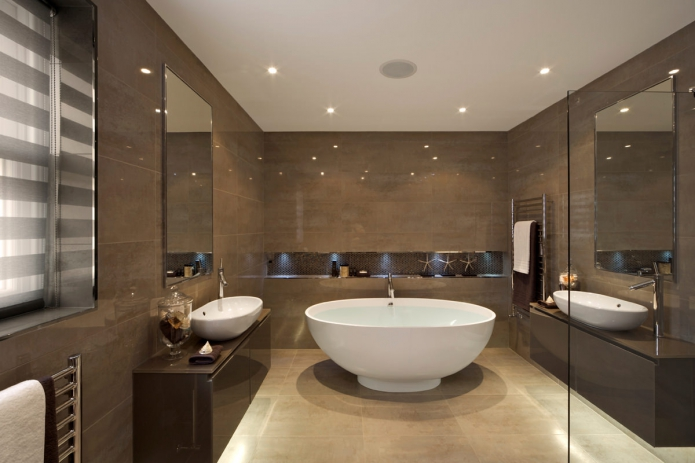 Интерьер ванной в коричневом цвете