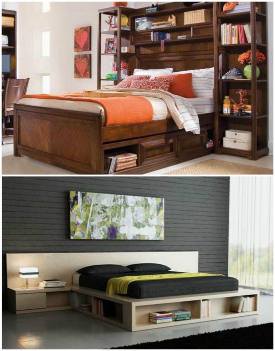 Кровати со встроенными полочками и тумбами.