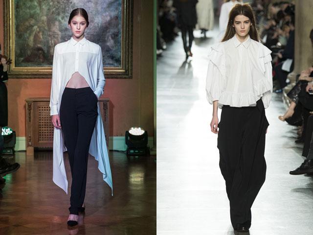 Асимметрия в блузах и рубашках 2016-2017